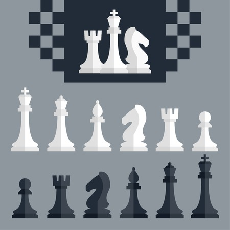 chess king: Vector chess pieces icons set, flat style