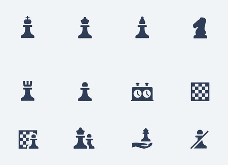 chess rook: Chess related vector icons set Illustration