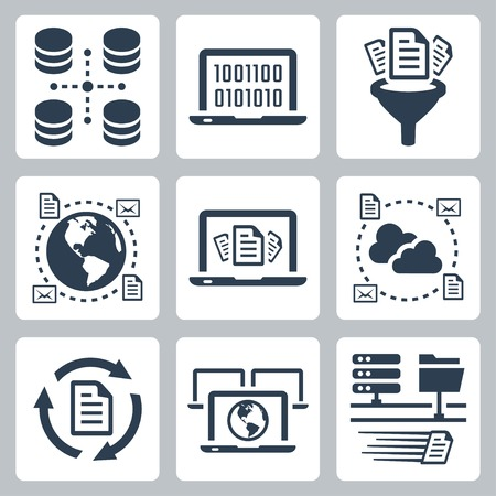 business process: Computer data related vector icon set