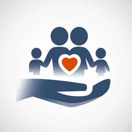 convivencia familiar: Símbolo de la mano que sostiene la familia, el amor o el concepto de seguro de vida