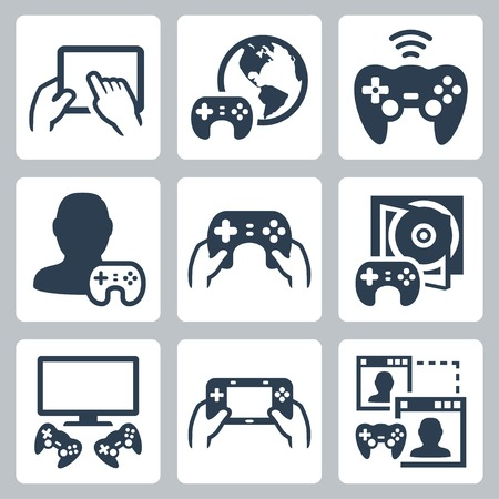 handheld device: Gaming, video console related vector icon set Illustration