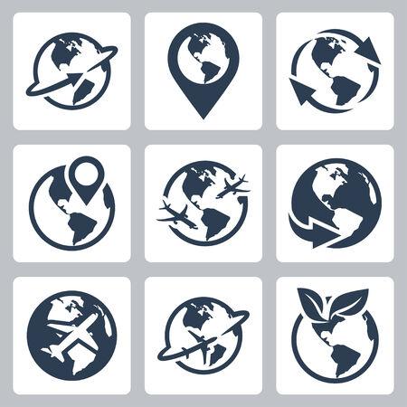 World globe related vector icon set Vector