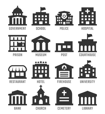 building fire: Government buildings vector icon set