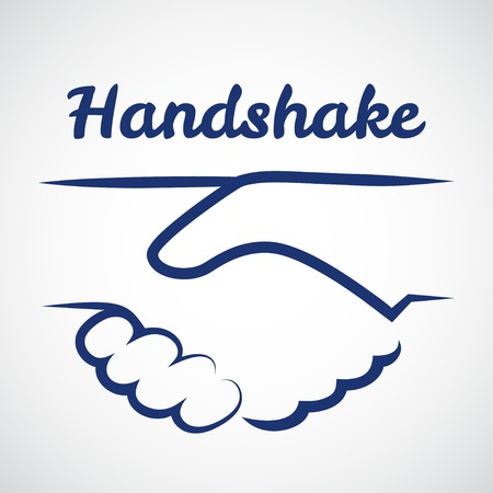 business people shaking hands: Handshake logo template on white background