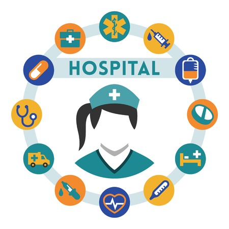 intravenous: Hospital and nurse related vector infographic, flat style