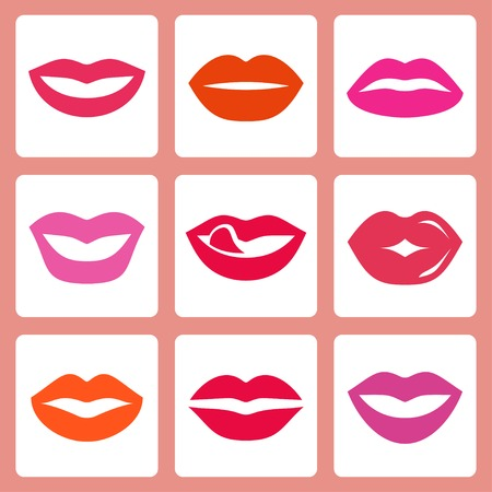 sexy nude women: Womens lips vector icon set