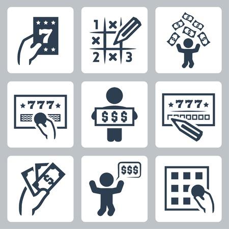 Lotería vector conjunto de iconos relacionados Foto de archivo - 35616000