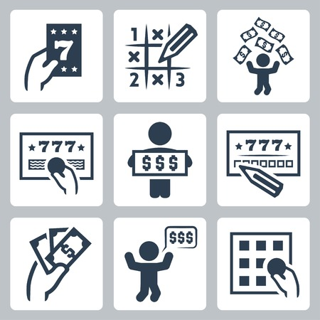 Lottery related vector icon set