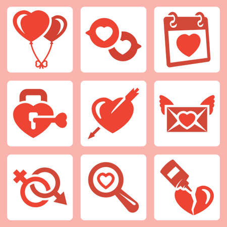 ardour: Vector isolated love icons set: baloons, speech bubbles, Valentines Day, lock, heart and arrow, love letter, gender symbol, search, broken heart