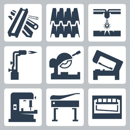 Corte de metales y productos de metal conjunto de iconos