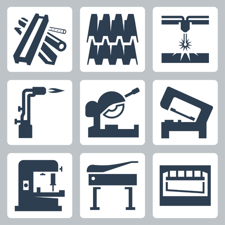 cutting metal: Metal cutting and metal products icon set