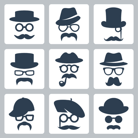 bowler hat: Icon set of vector mustaches, hats and glasses
