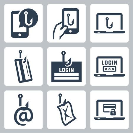 Phishing related vector icon set
