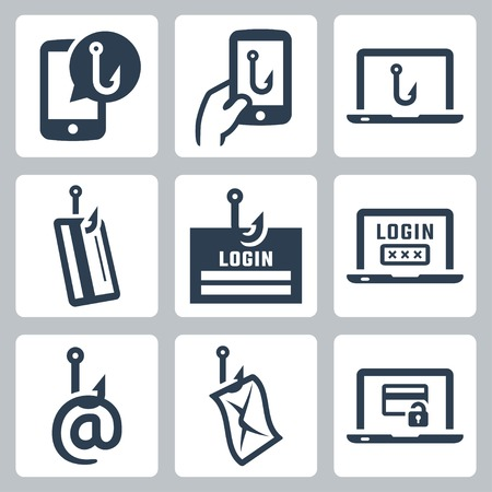 computer hacker: Phishing related vector icon set