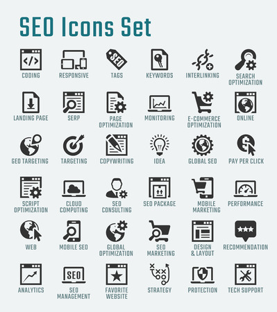 landing: SEO related big vector icon set