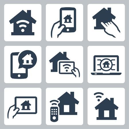 Smart house system vector icon set  イラスト・ベクター素材
