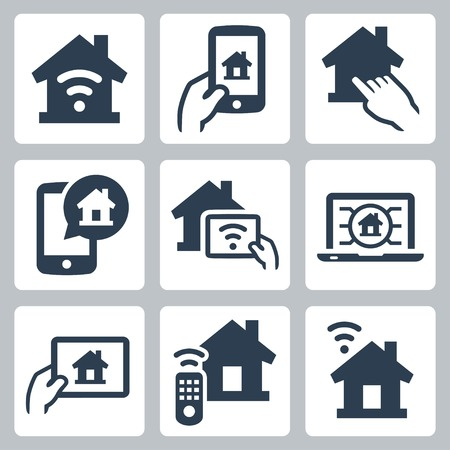 smart phone hand: Smart house system vector icon set Illustration