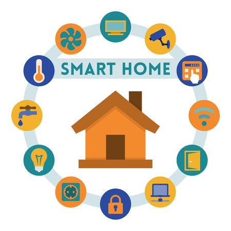 home related: Smart home related infographic and icons, flat style
