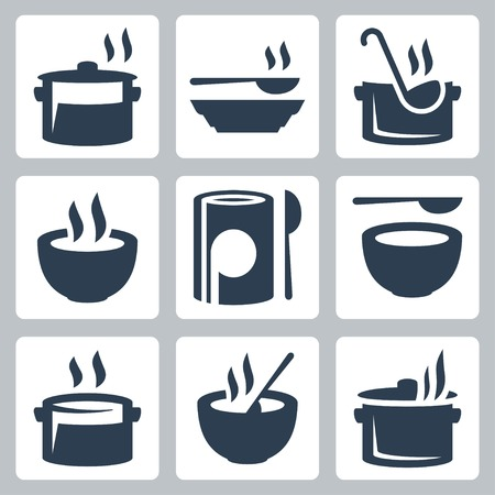 ladle: Soup related vector icon set Illustration
