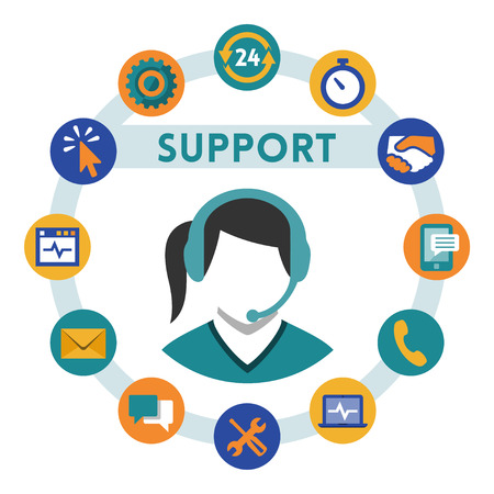 Support related vector icons, girl with a headset Vector