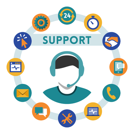 Support related vector icons, man with a headset Vector