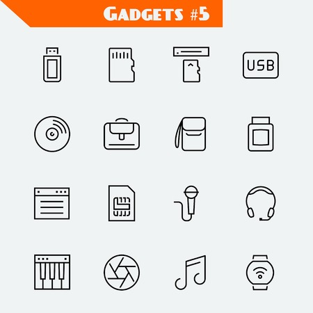 Computer accessories and gadgets icon set: flash drive, memory card, card reader, usb hard drive, cd, laptop bag, camera bag, toner, soft, sim card, microphone, headset, synthesizer, shutter, music,smart watch
