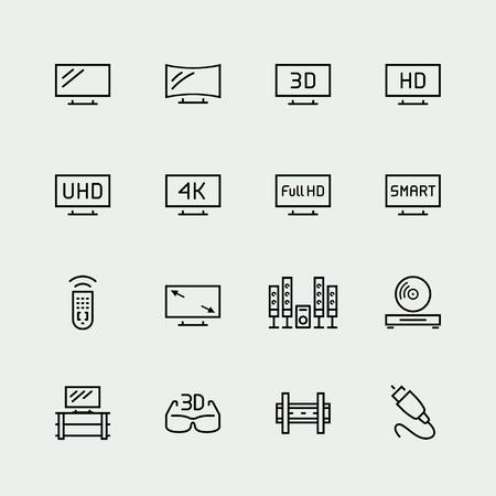 TV liés vecteur, icône, ensemble, le style de ligne mince Vecteurs