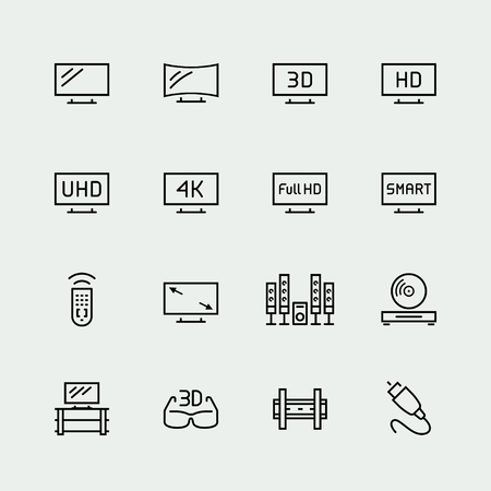 led display: TV related vector icon set, thin line style