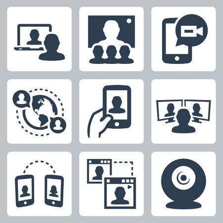 interview: Video conference and communication related vector icon set