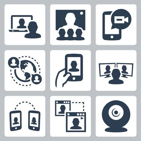 Video conferenza e la comunicazione relative icone vettoriali set Archivio Fotografico - 35616142