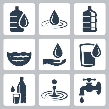 glass water: Water related vector icon set