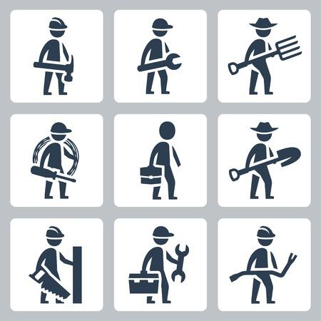 carpintero: Trabajadores conjunto de iconos vectoriales: Constructor, maquinista, agricultor, electricista, hombre de negocios, carpintero