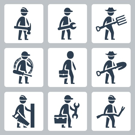 professions: Workers vector icon set: builder, machinist, farmer, electrician, businessman, carpenter