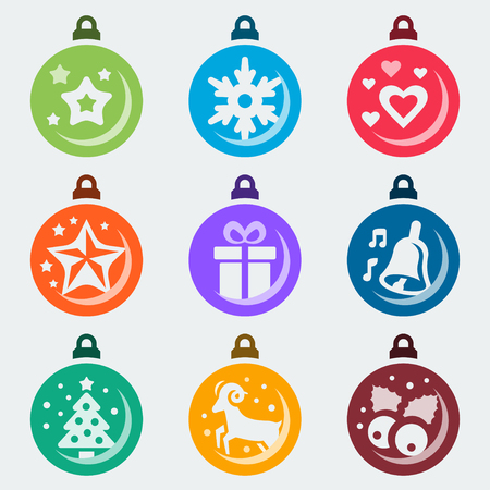 winterberry: Christmas balls vector icon set