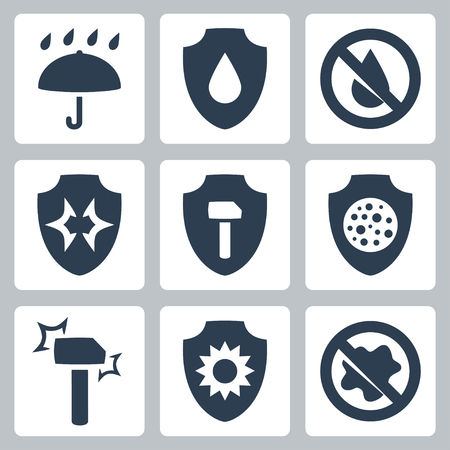 el agua: Protecci�n de la influencia externa: impermeable, herm�tico al polvo, a prueba de golpes y etc. Vectores