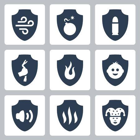 bulletproof: Protecci�n y resistencia relacionada icono conjunto de vectores: herm�tico, a prueba de bombas, balas, antirrobo, a prueba de fuego, a prueba de ni�os, a toda prueba y etc.