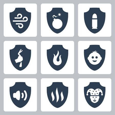 Protection and resistance related vector icon set: airproof, bombproof, bulletproof, burglarproof, flameproof, childproof, foolproof and etc. Illustration
