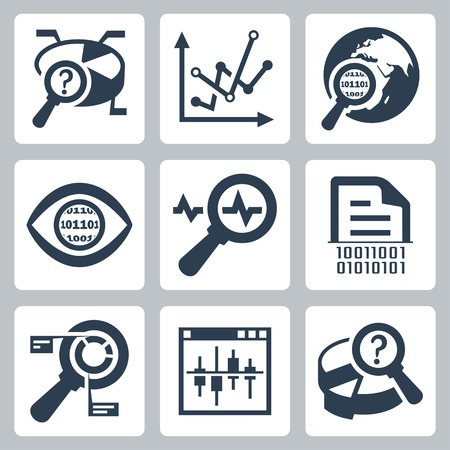 Vector data analysis icon set