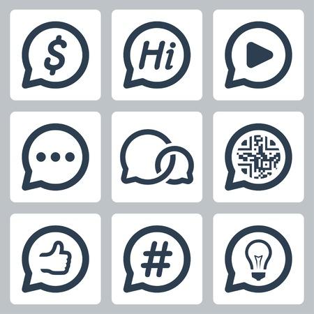 tweet balloon: Bubble speeches concepts vector icon set