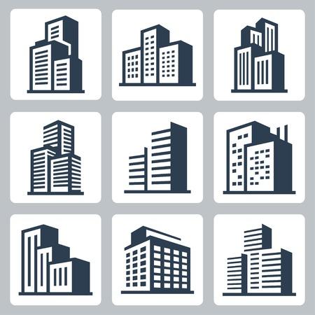Vector city buildings icon set Illustration