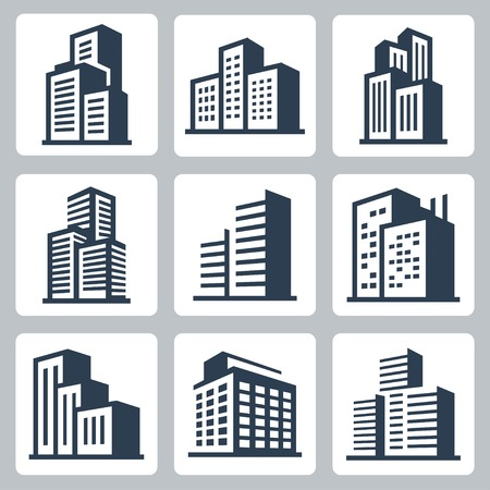 Vector city buildings icon set Vectores