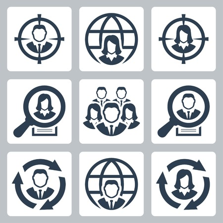 headhunting: Business people, headhunting related vector icon set