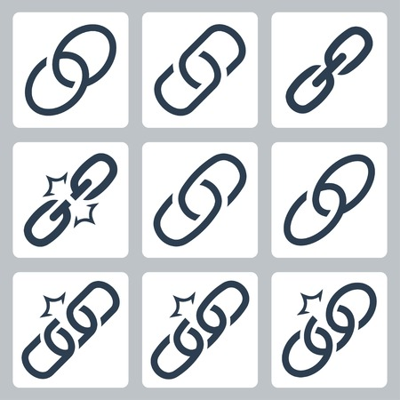 unchain: Chain links vector icon set