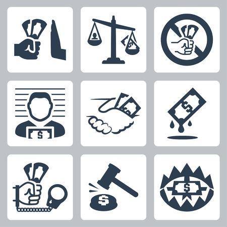 conjunto: Corrupción Vector vector conjunto de iconos relacionados