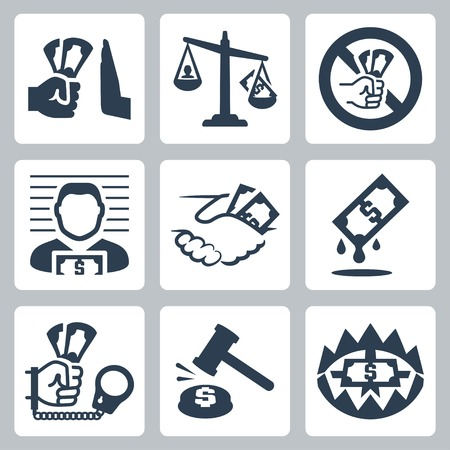 corruption: Vector corruption related vector icon set Illustration