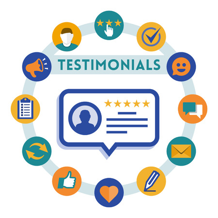 Customer service and testimonials vector infographic, flat style