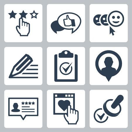 Service et des témoignages de clients Vecteur liés icône ensemble