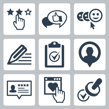 online survey: Vector customer service and testimonials related icon set