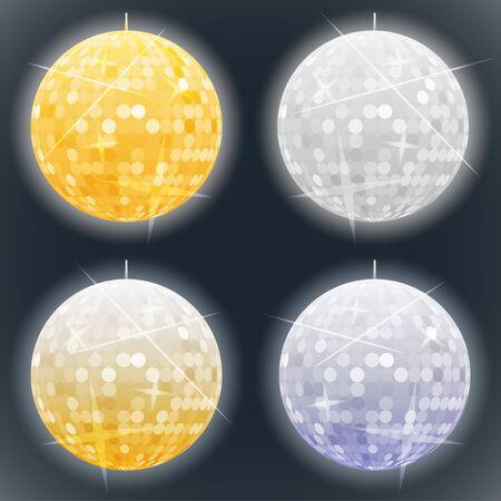 disco dance: Vector silver and golden disco balls