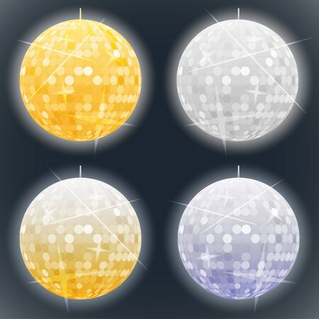 glitter ball: Vector silver and golden disco balls